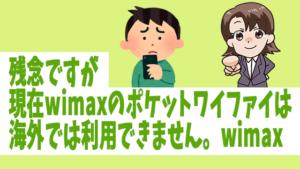残念ですが、現在wimaxのポケットワイファイは海外では利用できません
