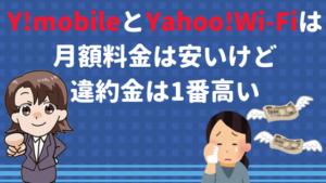 Y!mobileとYahoo!Wi-Fiは月額料金は安いけど違約金は1番高い