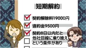 短期解約は契約解除料19000円違約金9500円。契約8日以内だと他社回線に乗り換えるという条件があり