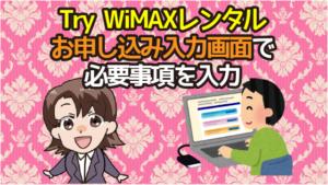 Try WiMAXレンタルお申し込み入力画面で必要事項を入力