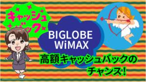 高額キャッシュバックのチャンス!BIGLOBE WiMAX